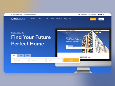 Banner Section on Real Estate landing page website design banner design properties real estate agent real estate landing page webdesign ux web uiux web ui web design