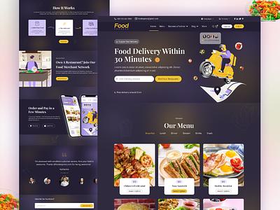 Dark Mode of Online Food Delivery Web Template Design landing design landing page ui landingpage online food order restaurant food online food delivery web template webdesign web ux web ui uiux ui