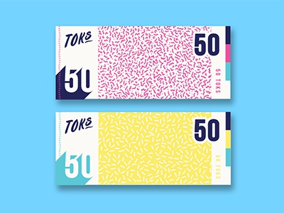 Toks Notes token money currency coin branding bold colourful notes