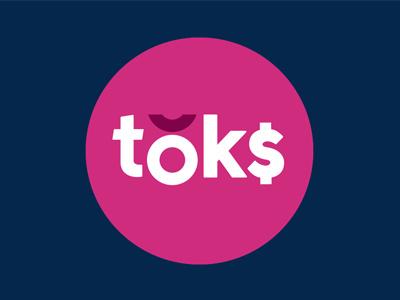 Toks branding - alternative route circle bold pink blue branding logo identity money token
