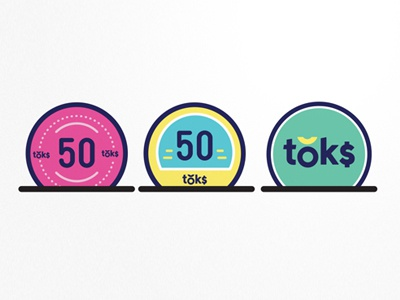 Toks Coins circle bold pink blue branding logo identity money token currency