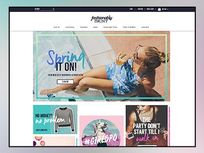 Fashionably Skint Homepage fashion website web design bright bold youth clothing ecommerce