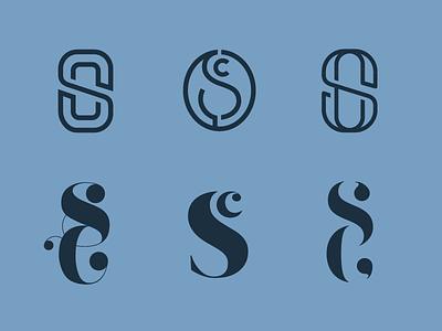 SC logo options branding monogram blue typography type logomark logo c s