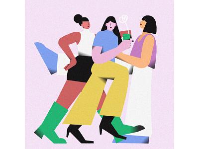Girls #02 selfie girls life character illustrator vector illustration graphic flat