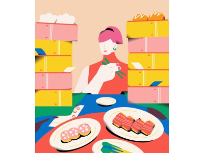 Girls #10 dimsum food girls character vector life illustrator illustration graphic flat