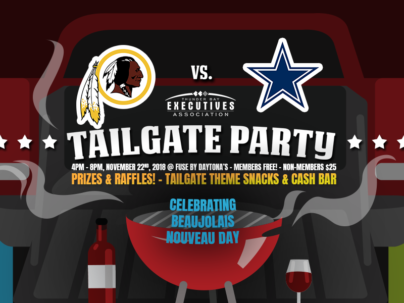 2018 Tailgate Party twitter facebook social media graphic illustration vector smoke barbeque bbq wine beaujolais party dallas cowboys washington redskins football tailgate truck