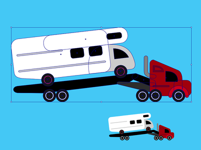 RV Towing minimal illustration illustrated illustrator tow truck towing shapes simple vector icon vehicle recreational vehicle rv