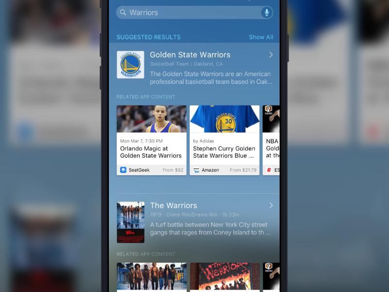 Spotlight Search Concept apps deep linking ux ui apple spotlight warriors