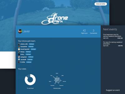 DronePark - Racing app blue ux design js css html web landing ui