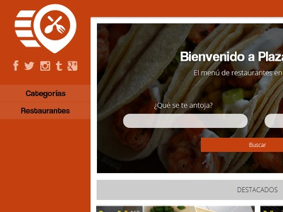 Plaza Comida search orange experience interface design html5 food ux ui web app