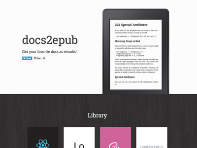 docs2epub github ebook mobile responsive css html homepage web design webdesign