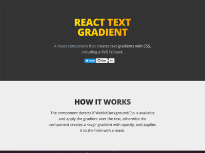 React Text Gradient Landing Page color gradient javascript design web landing react