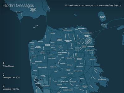 Hidden Messages social game osd design hackathon blue ui map