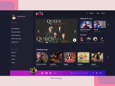 Dark Theme Desktop Music Player icon ux logo website web typography design