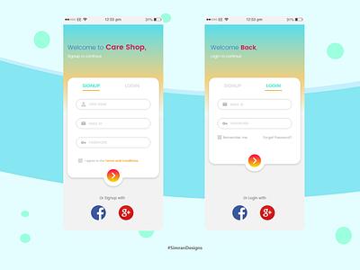 Signup/Login Pages ui medicine medical app careshop mobile typography design