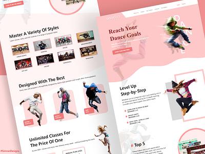 Dancing Web Page Concept UI Design landing page design dancers ux logo branding ui website typography dance