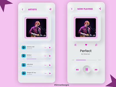 Neumorphism in music app app ux design typography color neumorphic design mobile design mobile ui icons music app neumorphic