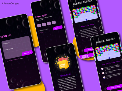 Bubble Popper Game screens games game screens game design app icon mobile ui color web ux branding ui typography design