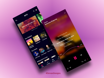 Booz music player ( mobile view) icon logo typography design mobile app anroid music music art music app typogaphy color palette uidesign ui mobile