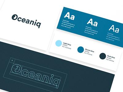 Oceaniq Visual Identity logo construction colors typography digital agency branding design visual identity gray blue clean water ocean branding logo illustration design
