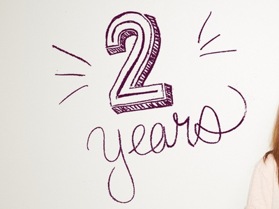 Two years celebrate purple type 2 two hand lettering lettering chalk lettering