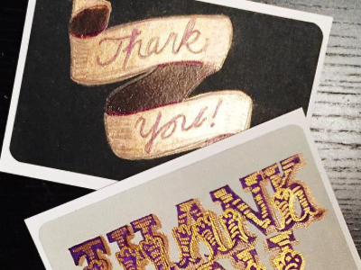 Hand lettered thank you cards purple gold thank you hand lettered