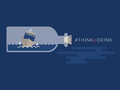 Think & Drink ship wreck navy nautical illustration anchor branding logo drink thinkdrink
