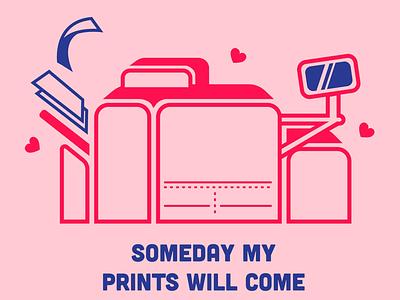 Printer Valentine valentine printing printer vector illustration adobe illustrator