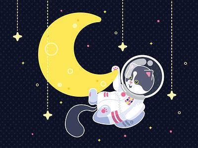 Moonlight in the moonlight illustration tuxedocat kitty stars space astronaut moon cat baltimore art vector art vector illustrator adobe illustrator