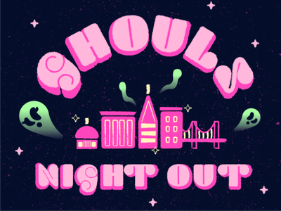 Ghouls Night Out illustration typogaphy ghosts halloween pink baltimore art vector art vector illustrator adobe illustrator