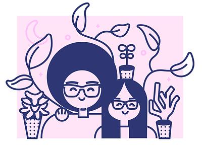 Plant Parents plants vector art pink adobe illustrator illustration