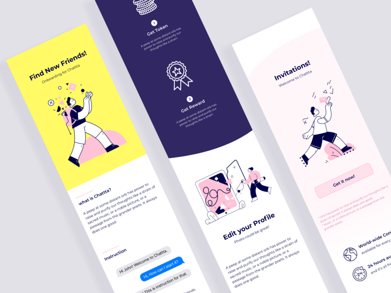 Chat app onboarding concept
