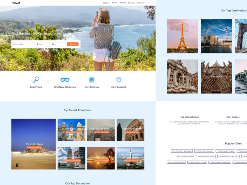 Travel Agency Landing Page design adobe xd travel agency travel ui  ux uxdesign ui design website website design landing page