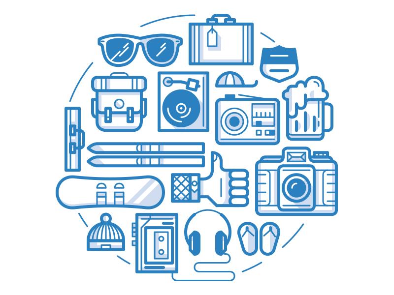 Holiday sunglasses suitcase cap snowboard thumb slippers walkman ski beer radio icons simple