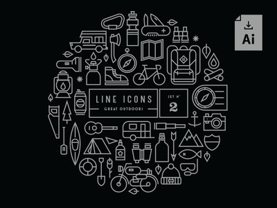 [Free Download] Line Icons Set 2 lineicons iconset line minimal stroke outdoors download icons icon monoline free