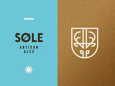 Søle Artisan Ales sole artisan ales deer minimal mid century logo beer ale gold flat