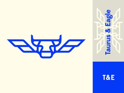 Taurus & Eagle - Logo Explorations symmetry symmetrical fluo blue corners rounded line logo wings eagle bull taurus
