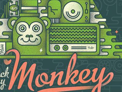 Monkey poster party monkey radio turntable