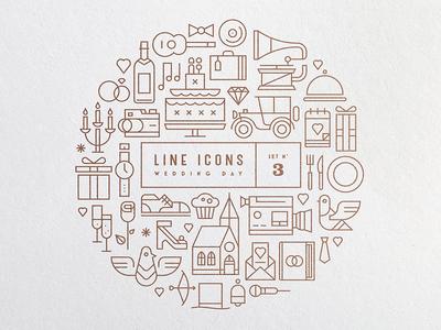 Line Icons Set 3 - Wedding Day gramophone car dove church weddingday wedding free icon icons download iconset line icons