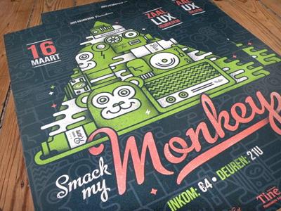 Monkey Printed poster party monkey radio turntable