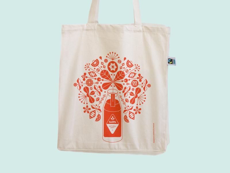 Sampa Bottle Tote Bag fairtrade illustration bottle organic flowers floral iced tea shop product totebag tote bag