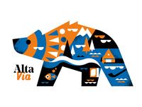 Wall Art: Alta Via Travel Poster design vector minimal illustration poster art poster challange blue orange poster design mountains bright colors bear wall art poster