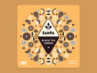 Sampa Iced Tea Bottle Label design illustration brand identity branding design lemon logo logodesign branding labeldesign label bottle label yellow bright herbs flowers floral packaging iced tea