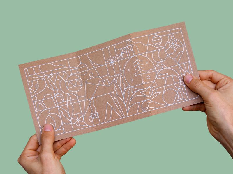 Christmas Card postcard design postcard gift box deer fox illustration christmas card christmas