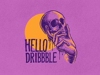HELLO DRIBBBLE digital illustrator digital illustration skull artwork digitalart drawing design illustration