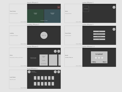 UX Wireframes for Upcoming Game layout ui game wireframes ux