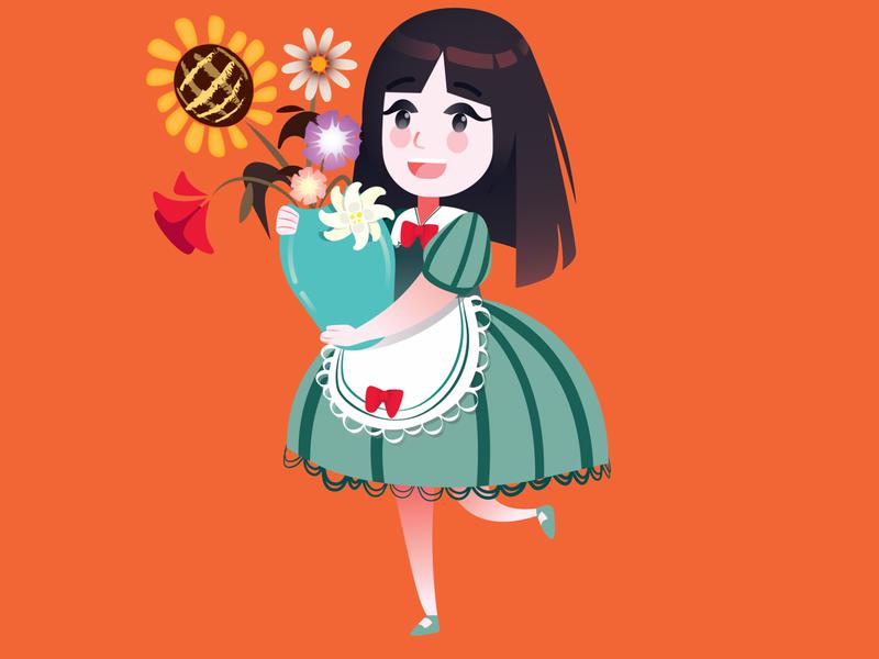 Flower Girl characterdesign character flower vector people illustrator flat illustration flat illustration