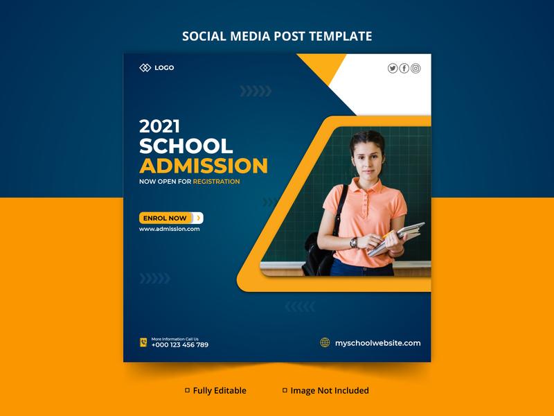 School Admission Open Social Media Banner Template Design Mockup social media vector minimal design typography branding creative design creative