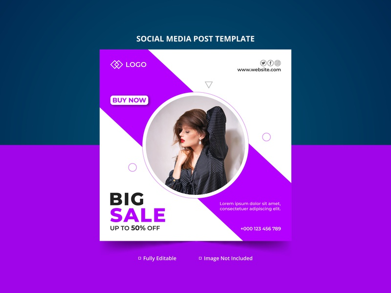 Big Sale Discount Offer Fashion Social Media Post Template typography branding design creative sale banner creative design instagram post facebook ads banner design fashion design