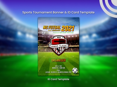 Sports Tournament ID Card Template template identity design futsal facebook banner business logo design banner design instagram post facebook post design design typography creative branding id card creative design
